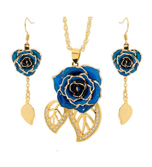 Blue Leaf Theme Pendant and Earring Set