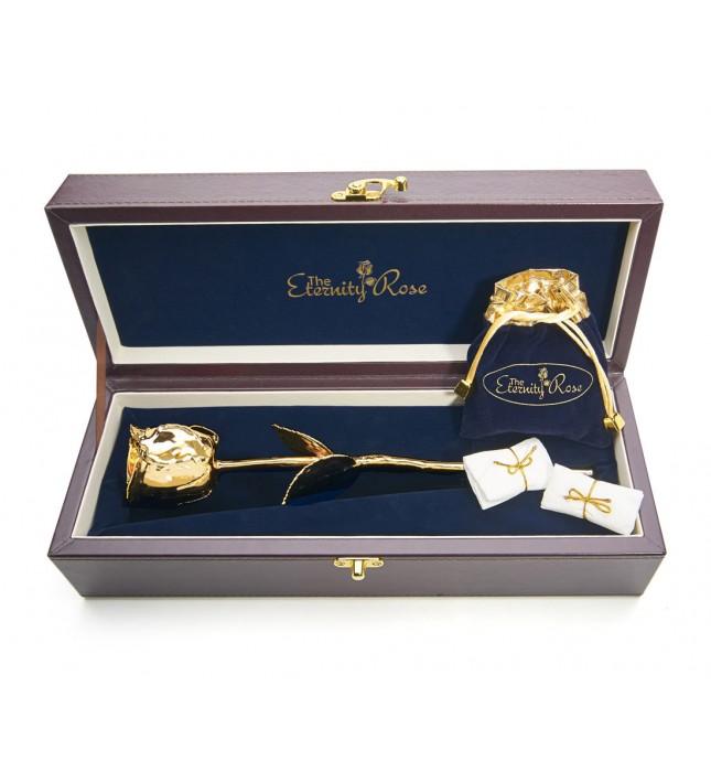 Gold Rose & White Leaf Theme Jewellery Set