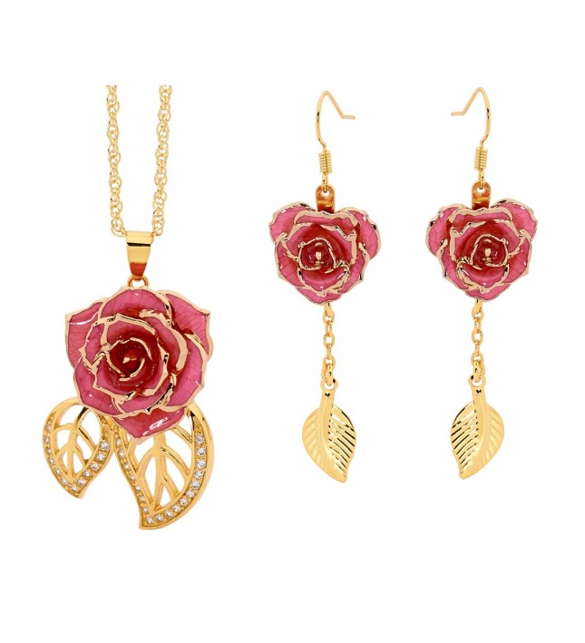 Pink Leaf Theme Pendant and Earring Set