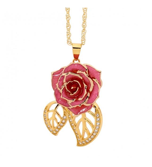 Pink Glazed Rose Pendant in 24K Gold Leaf Theme