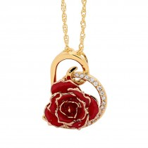Red Glazed Rose Heart Pendant 24K Gold