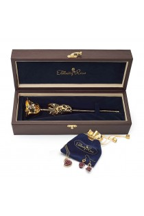 Gold-Dipped Rose & Purple Matched Jewellery Set in Heart Theme
