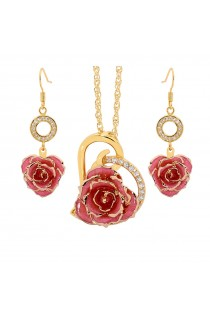 Gold Rose & Pink Heart Theme Jewellery Set