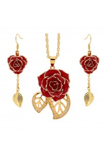 Gold-Dipped Rose & Red Matched Jewellery Set in Leaf Theme