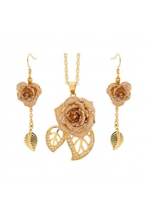 White Matching Pendant and Earring Set - Leaf Theme 24K Gold