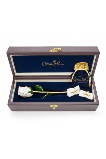 White Matched Set in Gold Leaf Theme. Tight Bud Rose, Pendant & Earrings