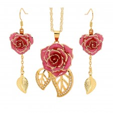 Gold Rose & Pink Leaf Theme Jewellery Set
