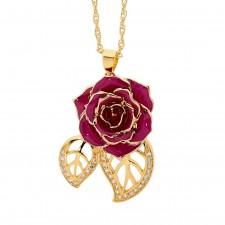 Purple Glazed Rose Pendant in 24K Gold Leaf Theme