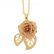 White Glazed Rose Pendant in 24K Gold Leaf Theme