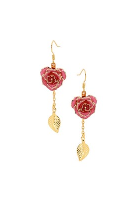 Pink Glazed Rose Earrings in 24K Gold Leaf Style