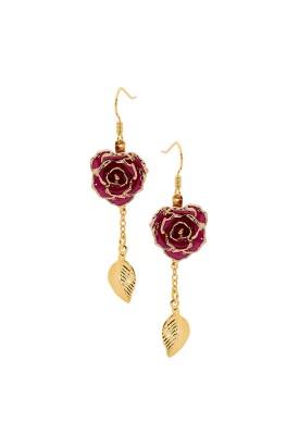 Purple Glazed Rose Earrings in 24K Gold Leaf Style