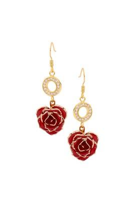 Red Glazed Rose Earrings in 24K Gold