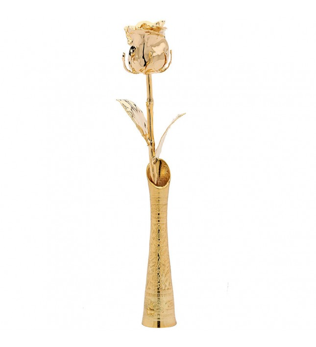 Gold Dipped Eternity Rose in Vase